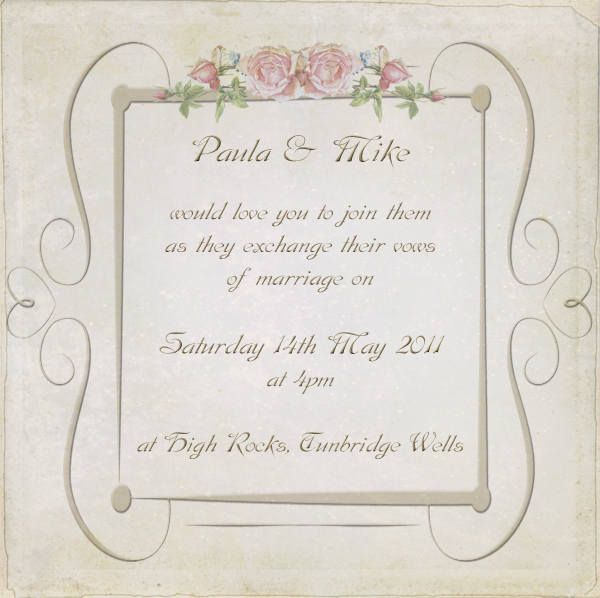 Vintage Roses Wedding Invitation Postcard