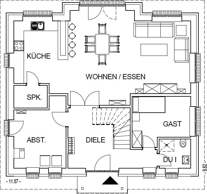 Grundriss stadtvilla 160 qm  Landhaus Grundriss Erdgeschoss mit 90,40 m² Wohnfläche ...