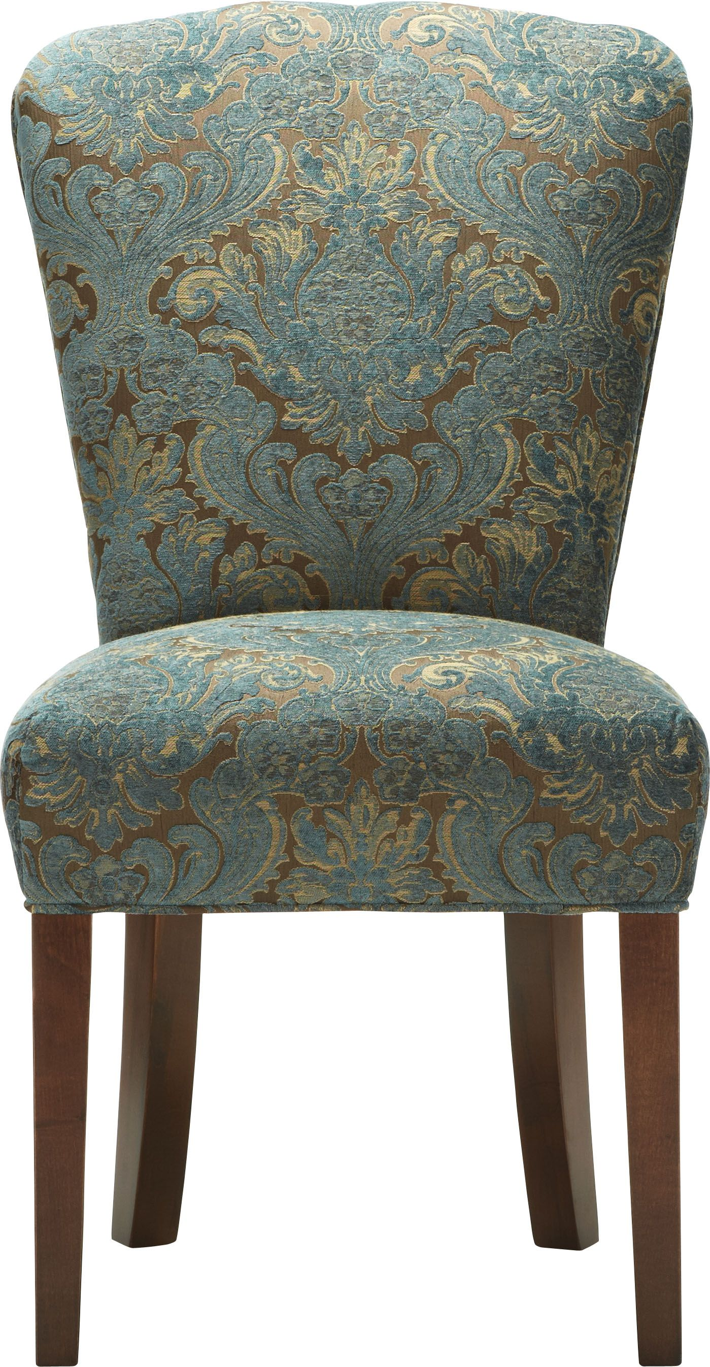 majestic looking gray upholstered dining chairs. Kitchen and Dining Room Furniture Stately dinner seating  The Harman Chair in Arhaus blue