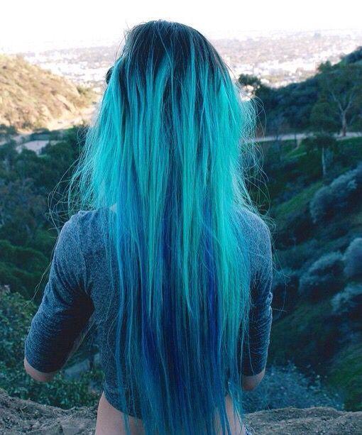 Blue Turquoise Haircolor Lagoon Blue Ombre Black Roots Hair Color Idea Hair Styles Dyed Hair Teal Hair