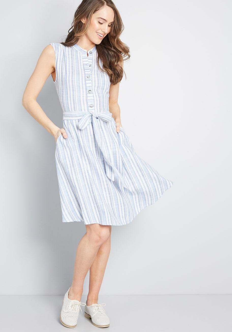 b1db115d34b Just Passing By Sleeveless Dress A simple glance at this blue-and-white  striped