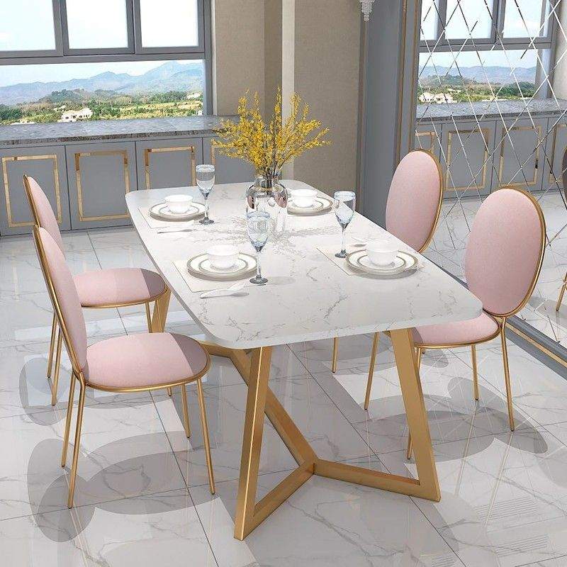 Modern Stylish Design Rectangular Dining Table In Gold With White Faux Marble Top Marble Top Dining Table Dining Table Marble Rectangular Dining Table
