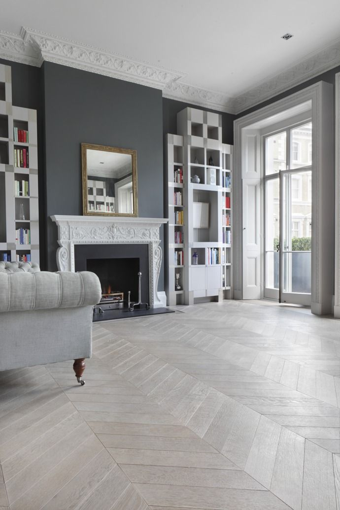 A Classic Living Room In Shades Of Grey Including Ash Grey Chevron Flooring