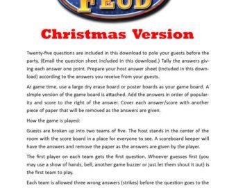 Thanksgiving Family Feud - Printable Game - Thanksgiving Family ...
