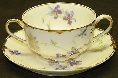 Haviland Limoges Cream Soup Bouillon Cup Saucer Set Schleiger Violets Gold