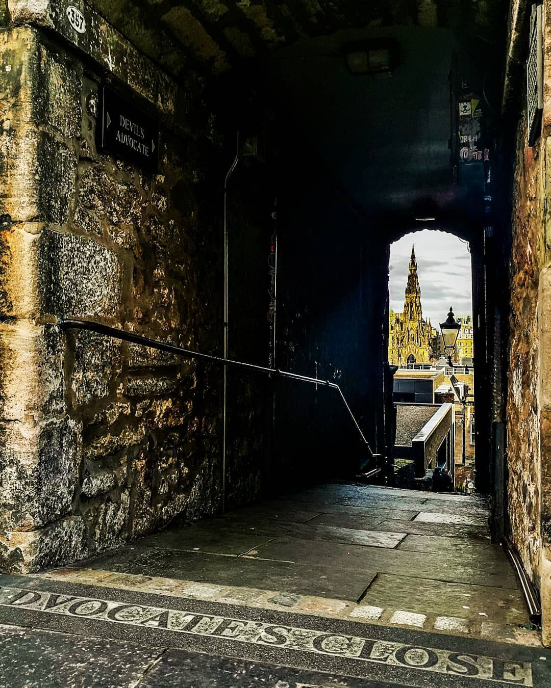 "Yus Aguilar on Instagram: ""The Scott Monument through Advocate's Close. · · · · · #edinburghsnapshots #edinburghhighlights #edinburgh_snapshots #hiddenedinburgh…"""