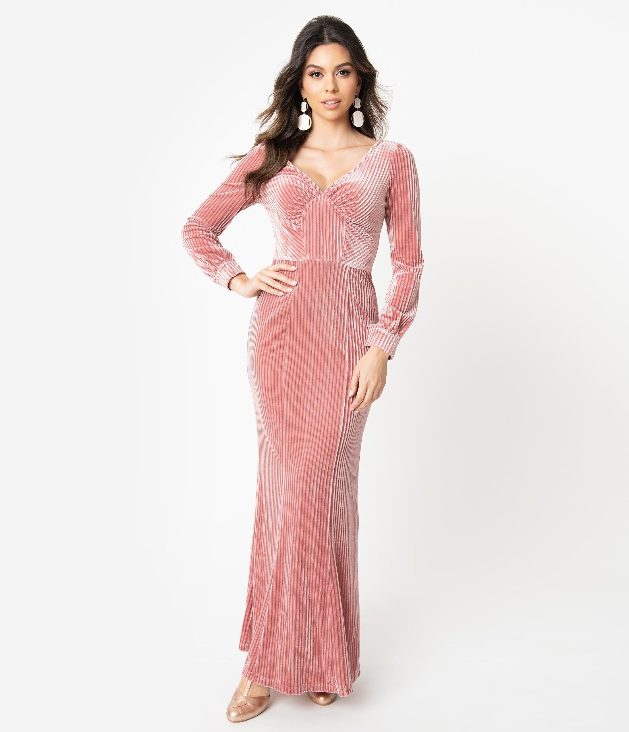 1930s Evening Dress Art Deco Gown Party Dress Long Sleeve Maxi Dress Maxi Dress With Sleeves Pink Velvet Dress [ 2550 x 2190 Pixel ]