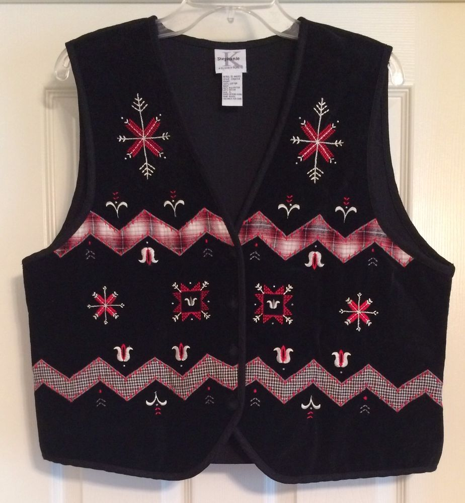 96b72461 Stephanie K Velvet Black Red White Ugly Christmas Holiday Party Vest Size  Large #StephanieKAdivisionofKoret #Vest #Party