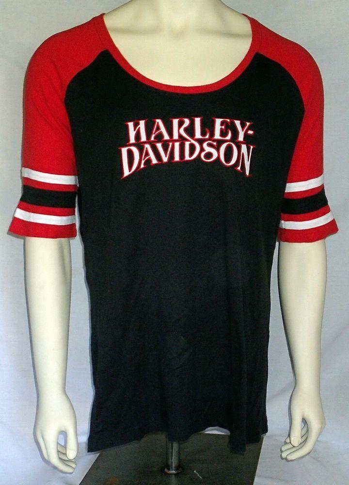 harley-davidson xl black red half sleeve shirt women's scoop neck