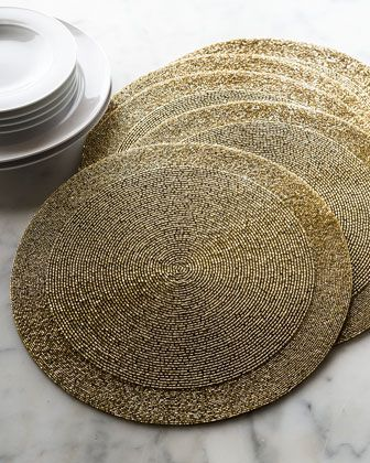 Four Beaded Placemats From Horchow Home Make It Your Resolution To Stock Up Now For