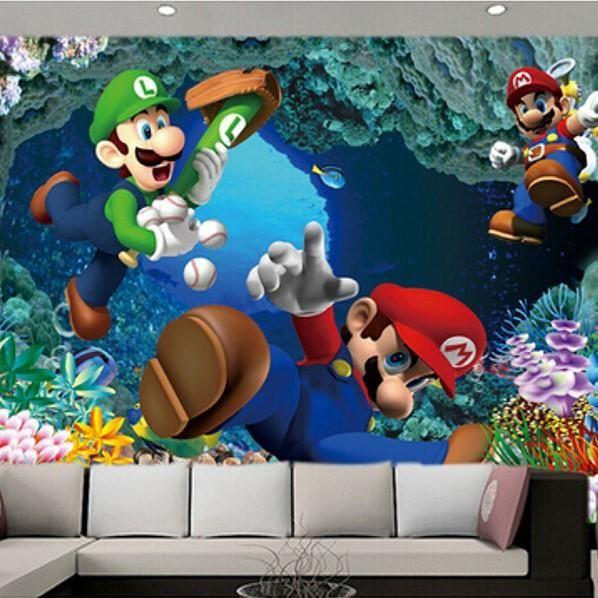 Custom 3D Super Mario Bros. Video Game Cave Wallpaper Mural