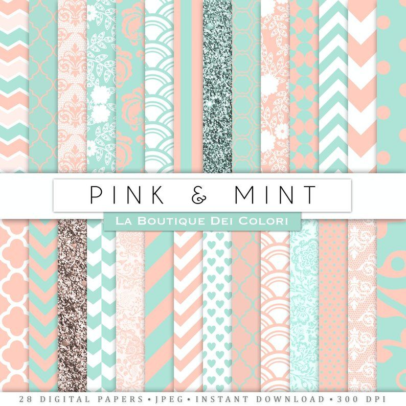 Pink And Mint Digital Paper Digital Mint And Pink Paper Etsy Digital Paper Pattern Paper Pink Paper
