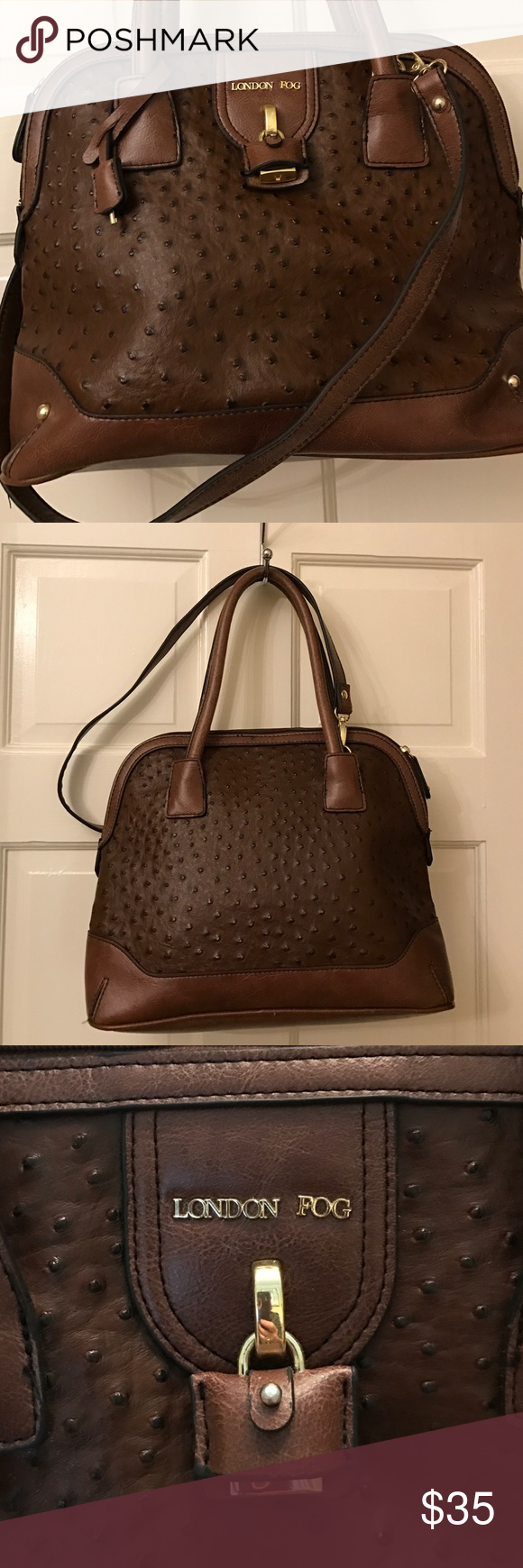 "London Fog simulated leather roomy purse Zipper pocket and two open pockets in clean mint interior. Exterior is well made and is in great condition. Has extra detachable shoulder strap. 13"" x 10.5"" x 5"" x 7"" strap drop plus extra 27"" detachable strap. London Fog Bags Shoulder Bags"