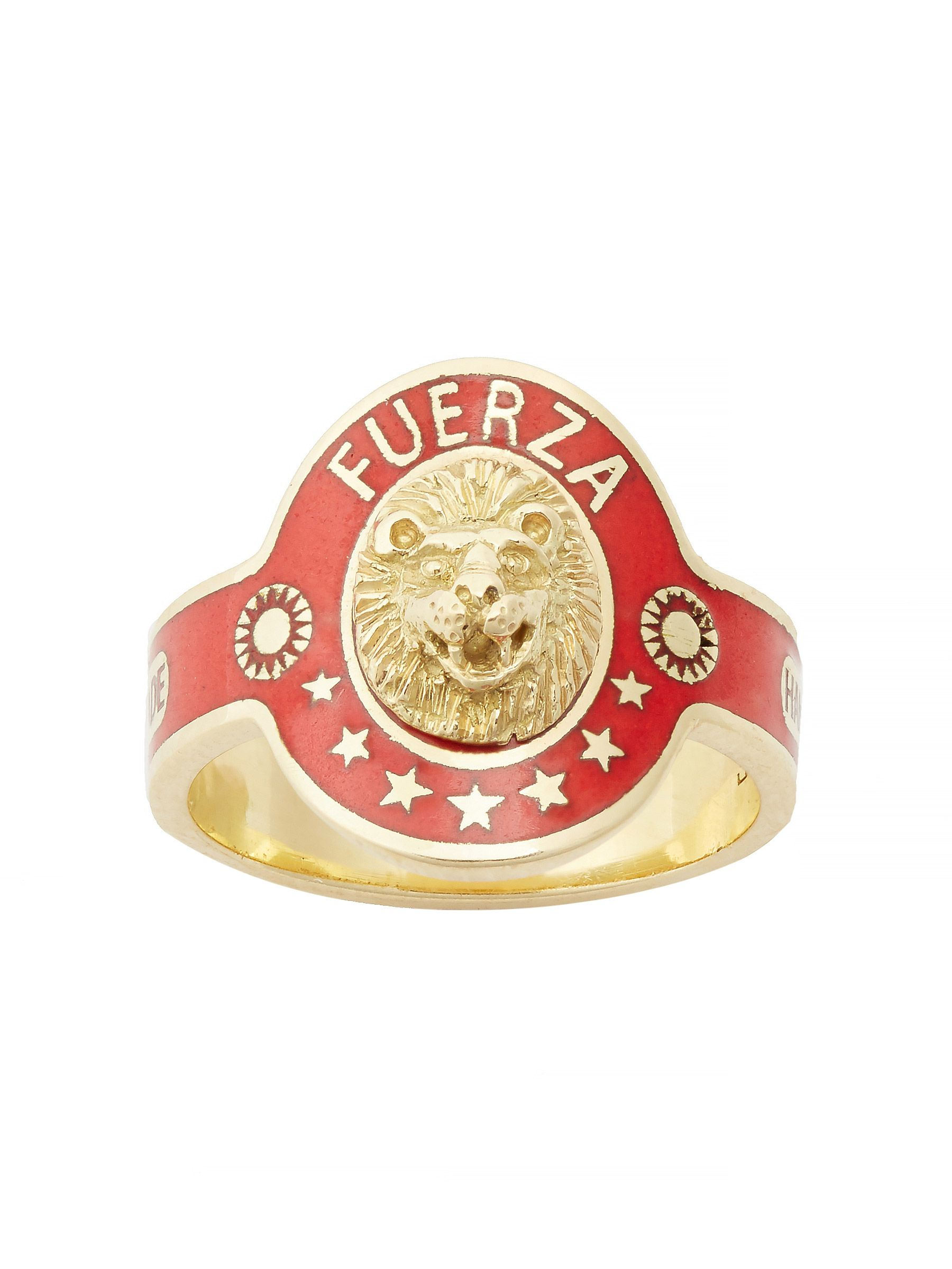 """Foundrae """"Strength"""" Cigar Band Ring in 18k Gold champlevé enamel"""