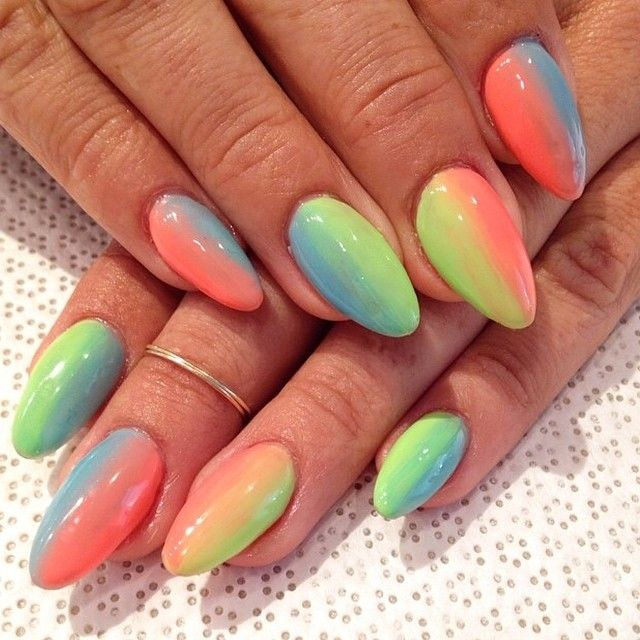 Weekly $40 gel special!! Book this fun summertime gradient ombré manicure anytime from 8/4-10 #handpainted #gelnail #nailart #vanityprojects...