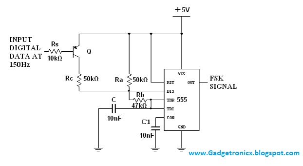 FSK modulator using IC 555 circuit.Production of Frequency Shift ...