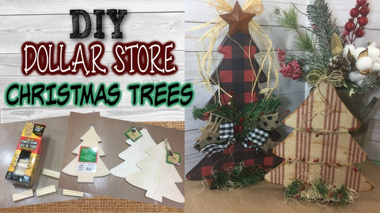 Diy Dollar Store Christmas Trees Farmhouse Inspired Rustic Christmas In 2020 Dollar Store Christmas Dollar Tree Christmas Decor Christmas Centerpieces Diy