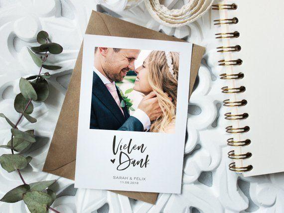 Danksagungskarte | Dankeskarte | individuelle Hochzeitspapeterie in schlichtem Design, Postkarte, Dankeschön, mit passendem Umschlag