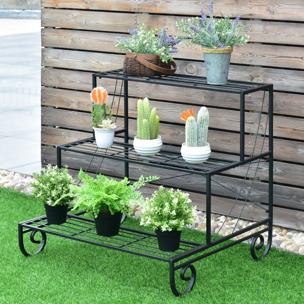 3 Tier Outdoor Metal Garden Planter Holder Shelf Plant Stands