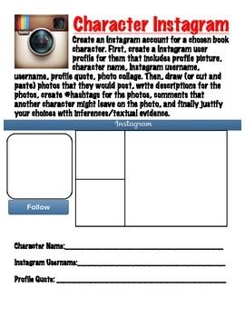 Novel Character Instagram Activity  Novels Activities And Instagram
