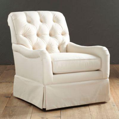 Howard tufted swivel glider ballard designs 900 for den for Fabric swivel chairs for living room