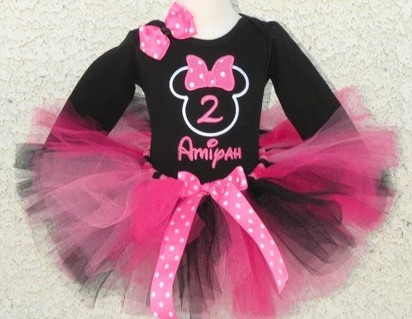 f5e8d729b Black Hot Pink Minnie Mouse 1st Birthday Tutu Outfit | Birthday ...