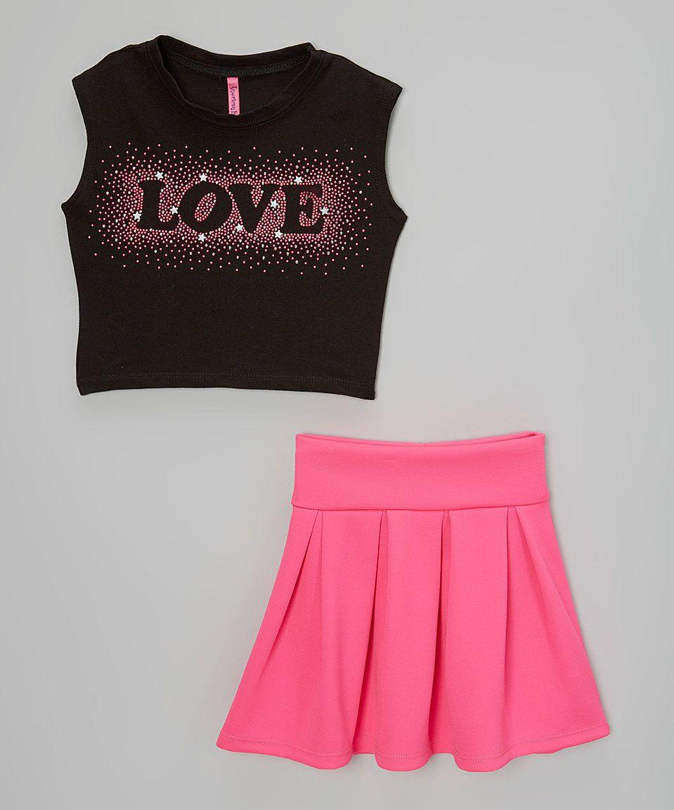 American Kids Black 'Love' Crop Top & Hot Pink Pleated Skirt ...