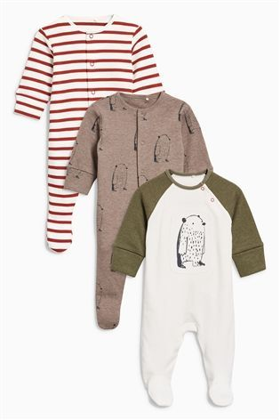 Buy Ecru Bears Sleepsuit Three Pack (0mths-2yrs) from the Next UK online shop