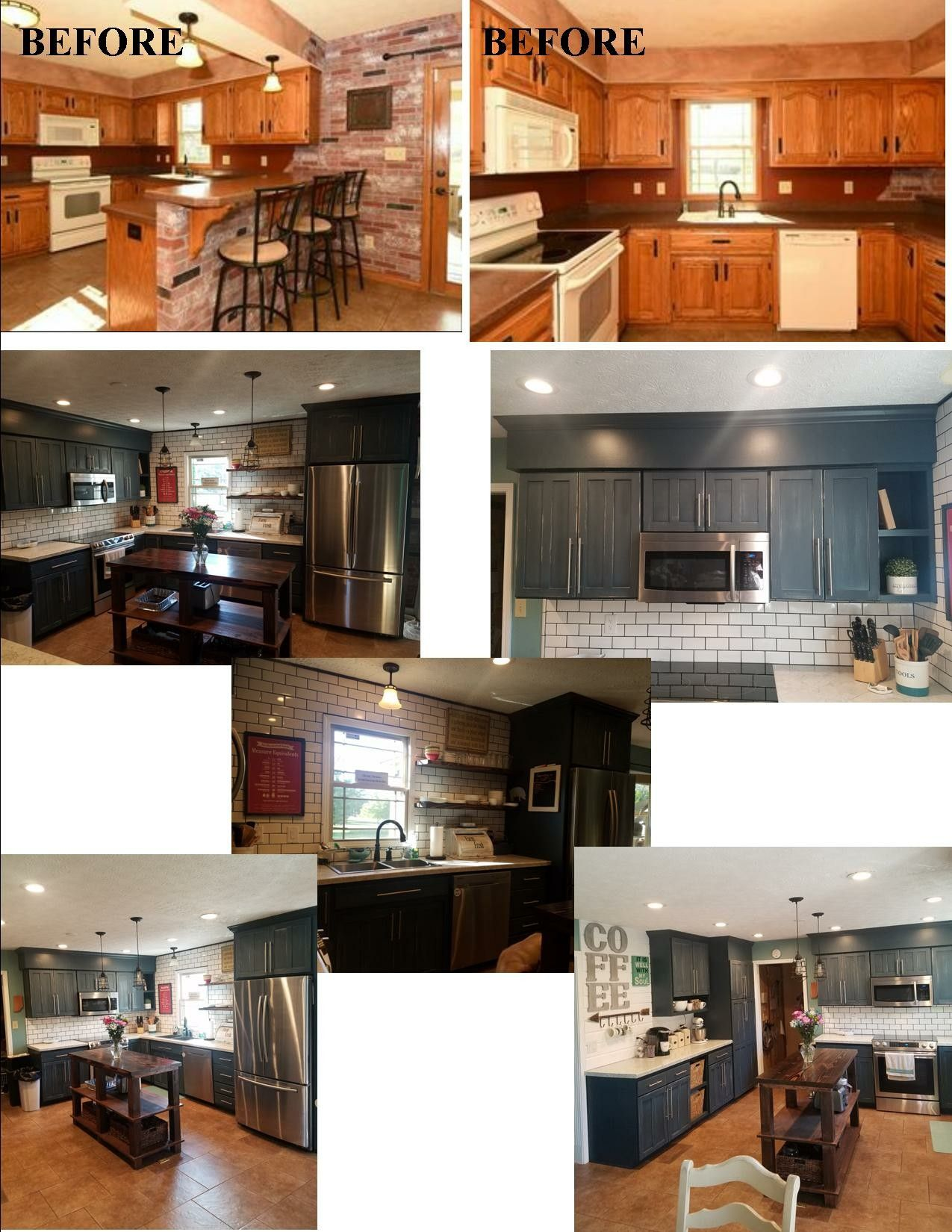 Beforeafter Kitchen Remodel, Gray Cabinets, Diy, Subway Tile, Shiplap,