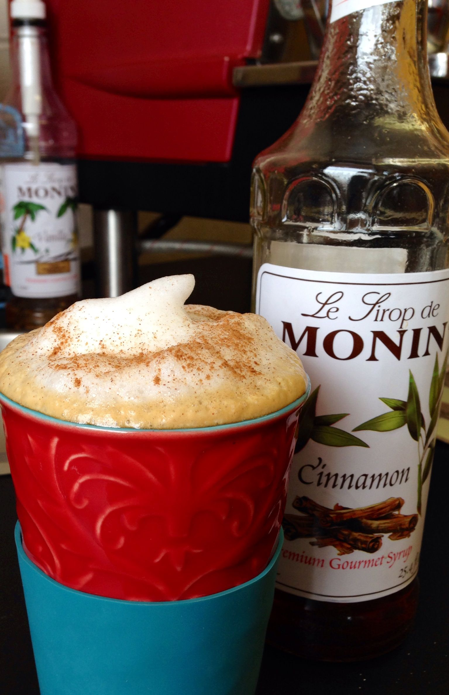 Cinnamon Dolce Latte With Monin Syrups Shelly Voight Jayne S Coffee Shop Driggs Idaho International Desserts Cinnamon Dolce Latte Cinnamon Dolce