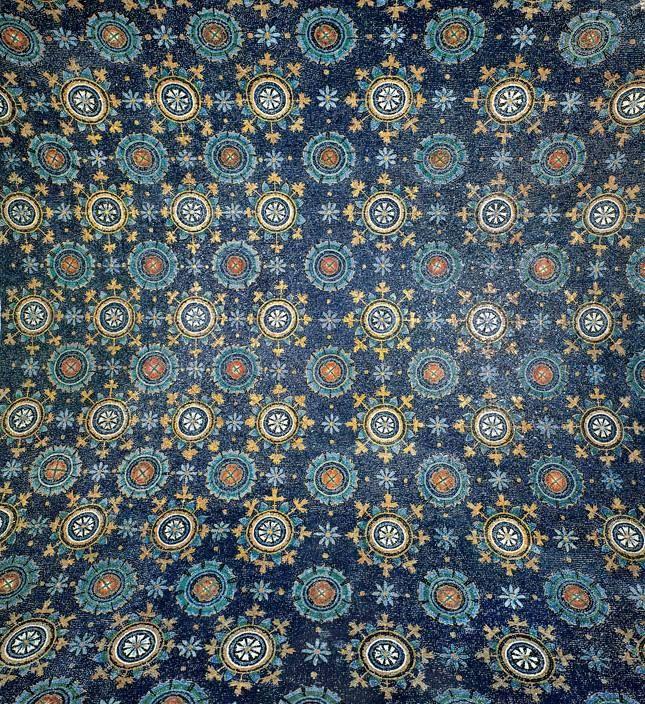 Dettaglio decorazione volta, mosaico, Mausoleo di Galla Placidia, 450, Ravenna
