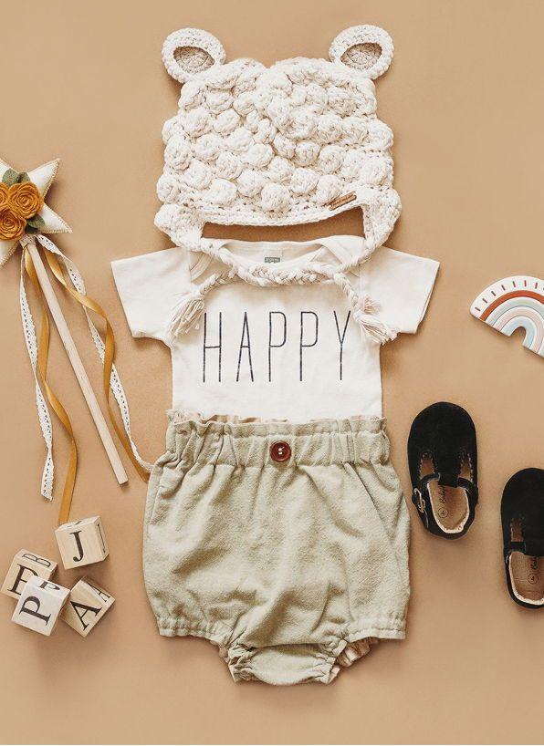 happy baby girl outfits newborn summer newborn must haves clothing newborn clothes girl summer organic onesie gender neutral baby flatlay ideas baby onesie for girls comi...