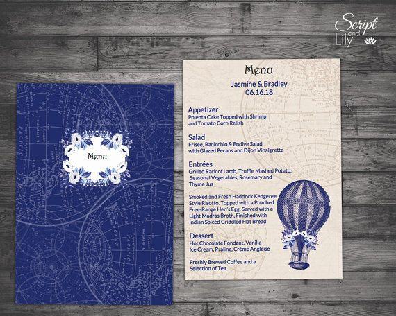 Blue Steampunk Menu Templates Double   Single Sided INSTANT - ms word menu template
