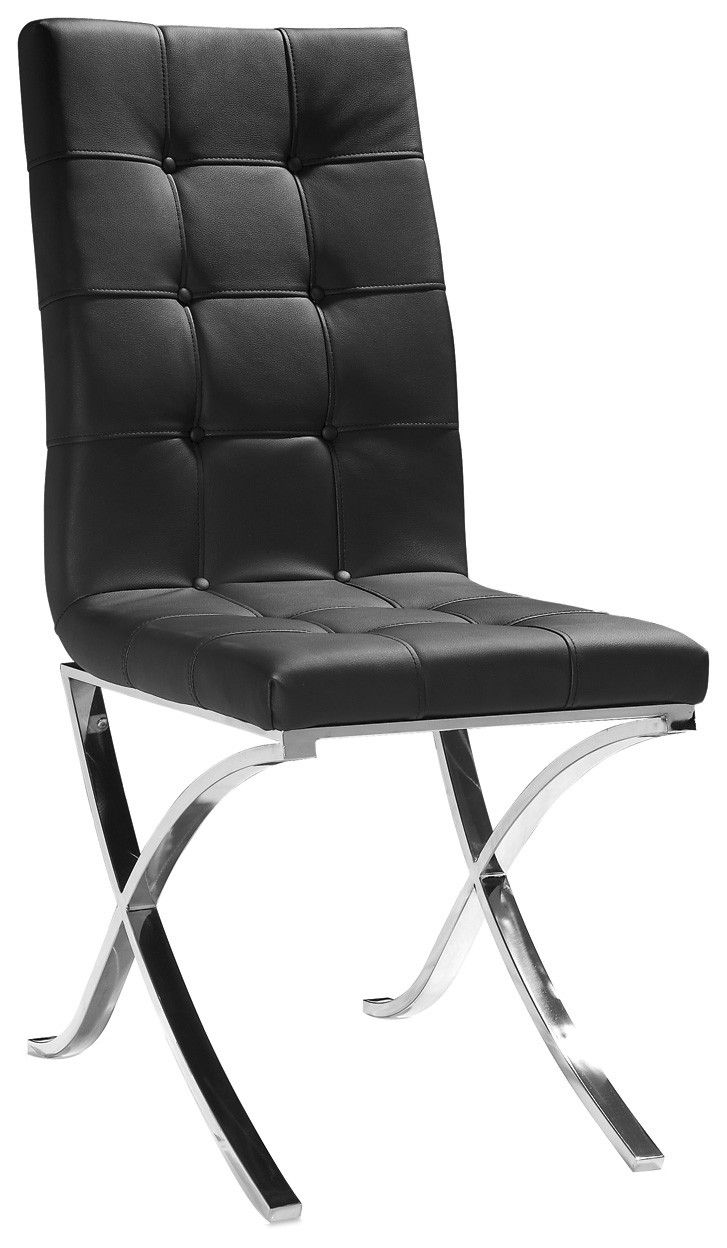 Modern Black Leather Tufted Dining Chair  MSH  Black