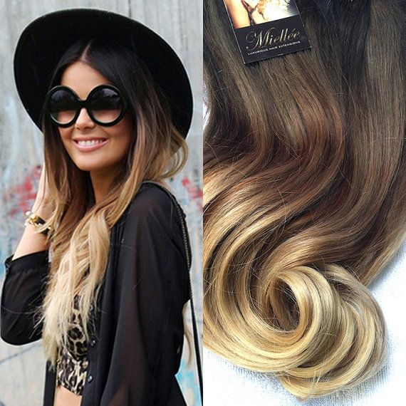 High Contrast Neutral Ombre Clip In Extensions Silky Straight