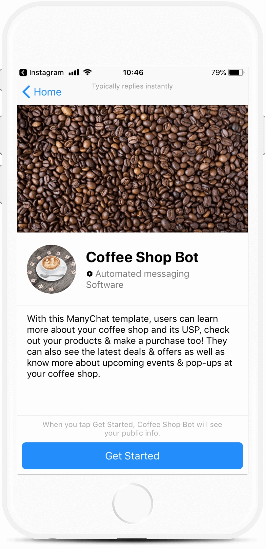 Coffee Shop Chatbot Template Drive traffic to your coffee