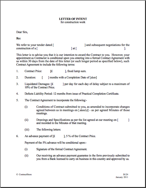 Printable Sample Letter Of Intent Template Form