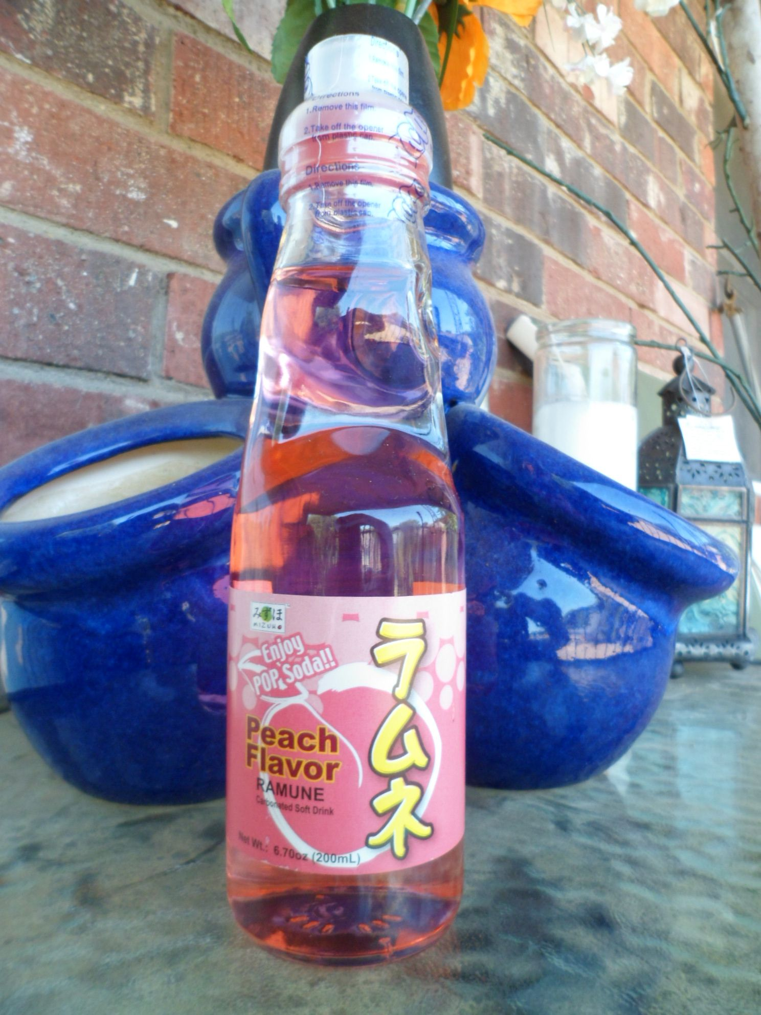 Pop Soda Peach Flavor Ramune Carbonated Soft Drink