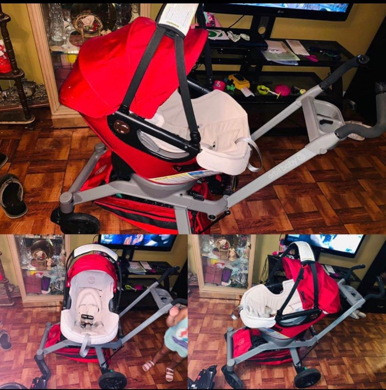 Both stroller n car seat goes 360 N it comes with base