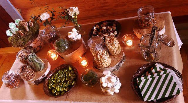 Metsäaiheiset syntymäpäiväjuhlat: Karkkibuffet