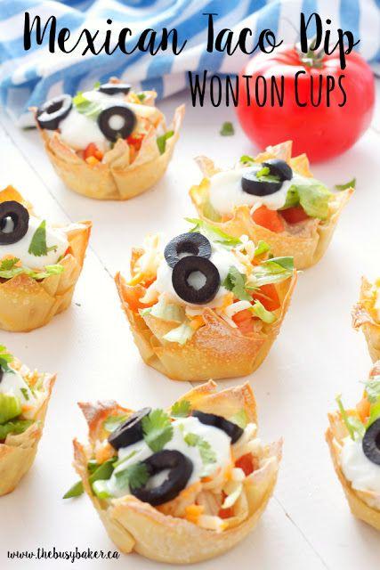 Mexican Taco Dip Wonton Cups - The Busy Baker #tacodip