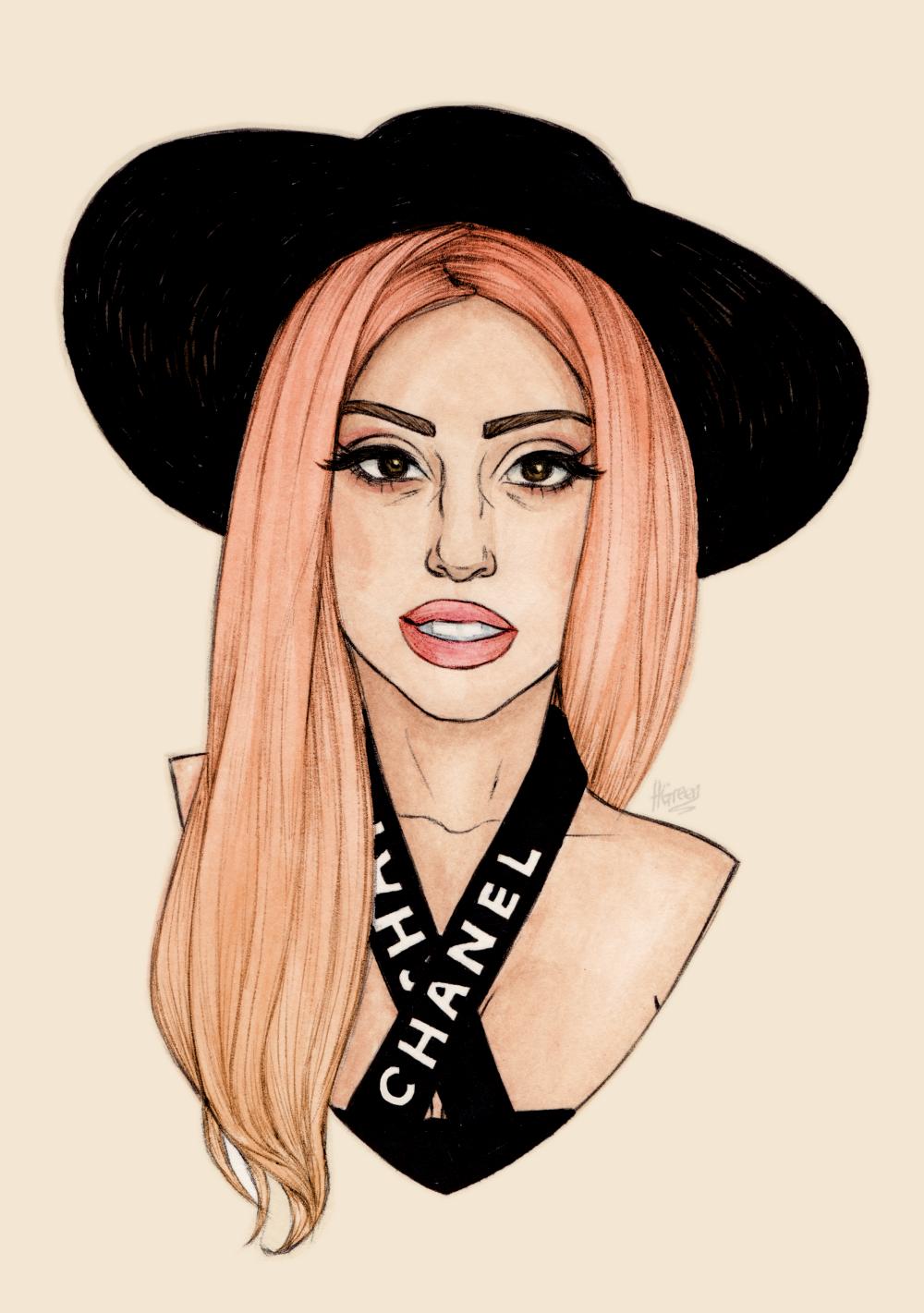 Google themes lady gaga - Lady Gaga Fanart By The Great Helen Green