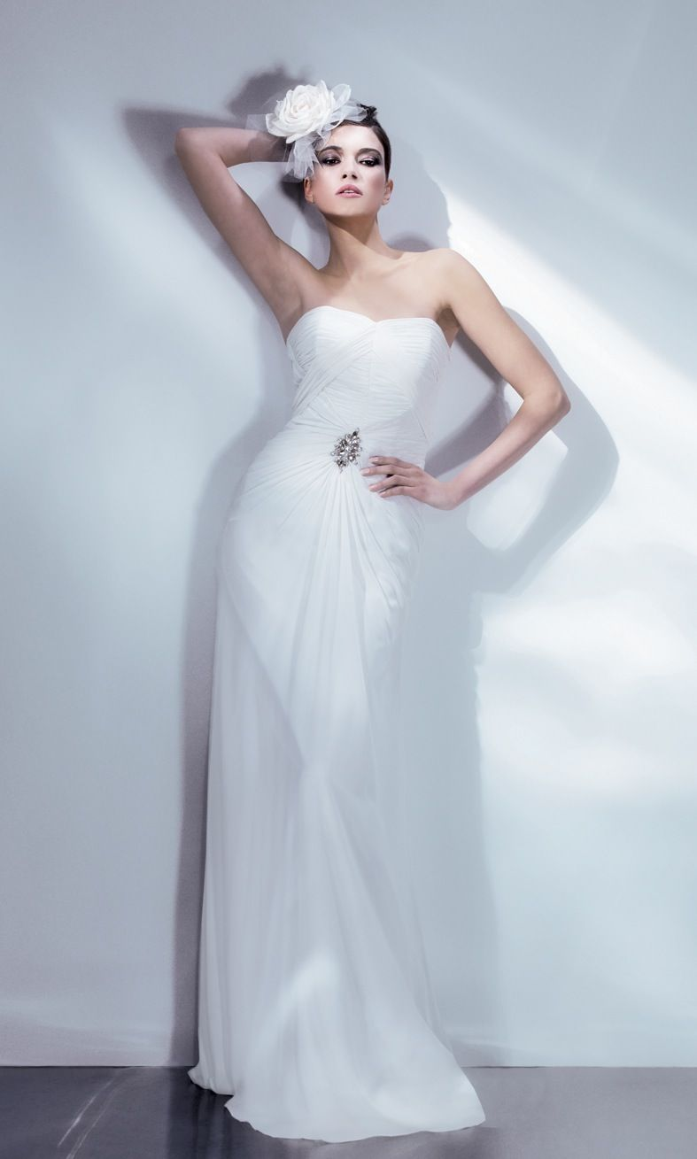 Chiffon Art Deco Wedding Gown by Bari Jay | Art Deco Inspired ...