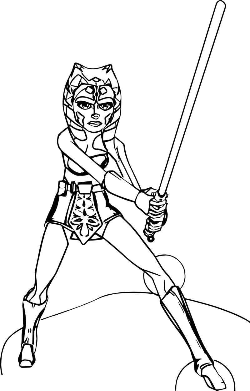 Ahsoka Tano Fighting Pose Coloring Page In 2020 Fighting Poses