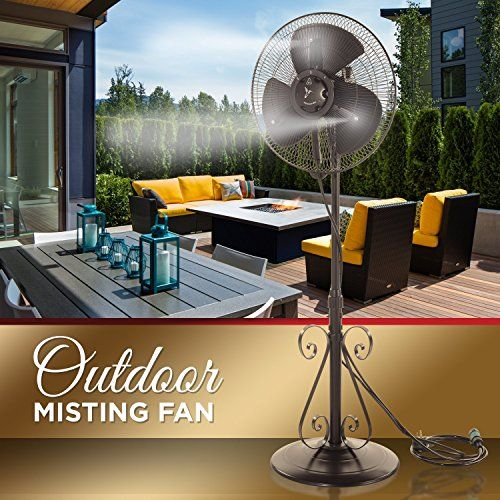 outdoor misting fan 3 speed all weather pedestal fan with variable mist - Outdoor Misting Fan