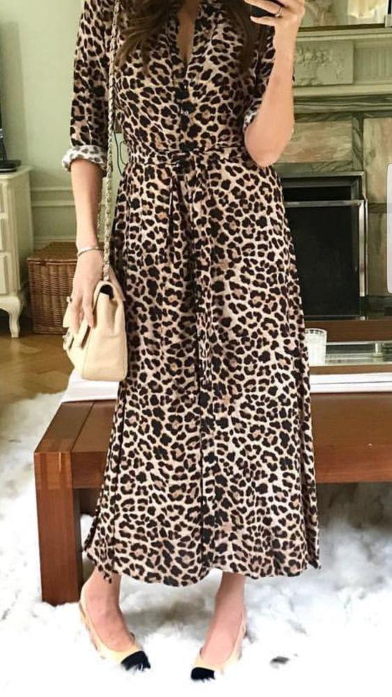 Zara New Long Leopard Print Dress Maxi Shirt Style Long Sleeve Belt Size S Ebay Vestidos Looks Vestido Chemise