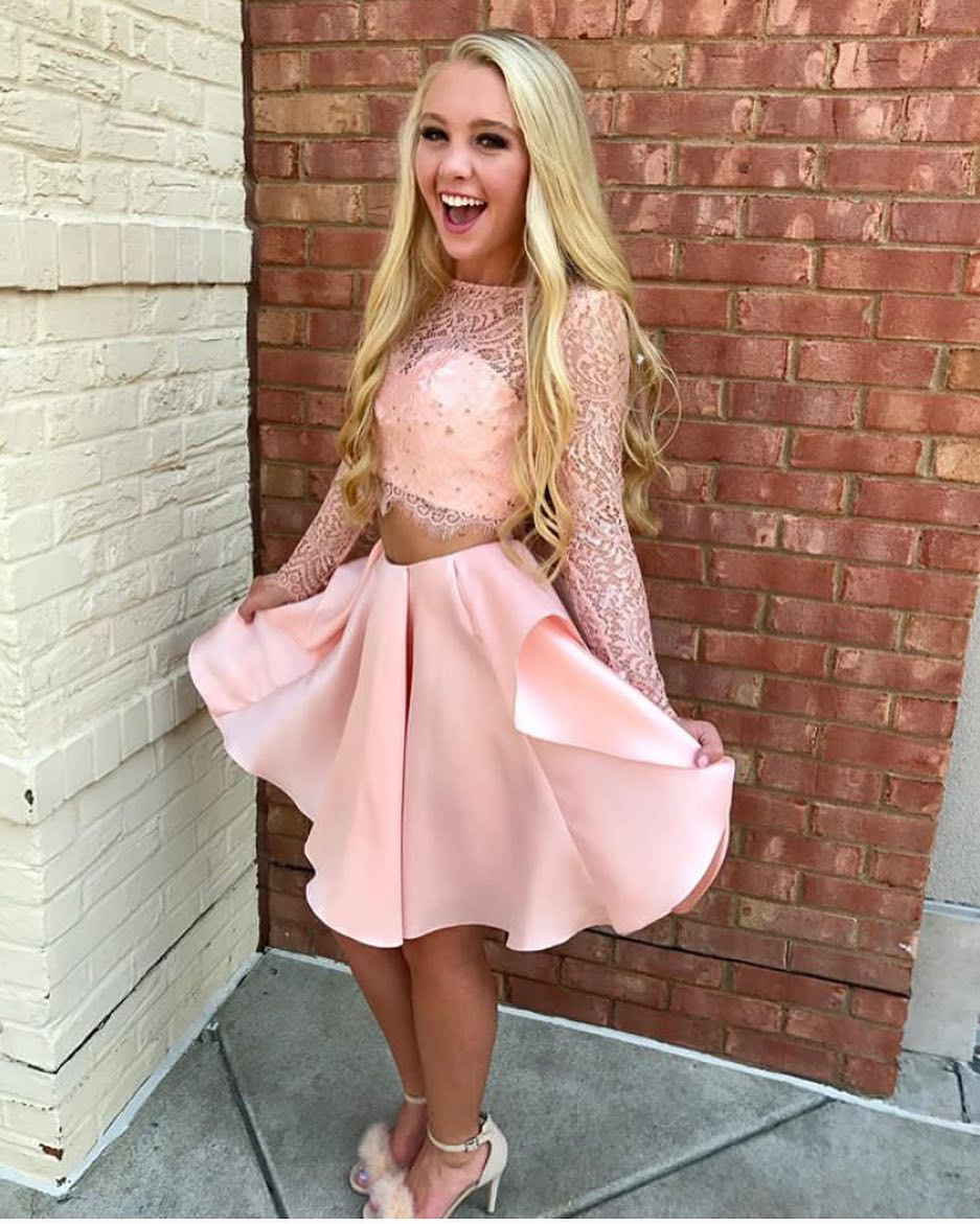Pink lace satin short two piece homecoming dresses long sleevesplus
