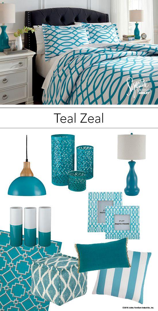 teal zeal teal turquoise bedroom bedding and accessories ashley furniture ashleyfurniture. Black Bedroom Furniture Sets. Home Design Ideas