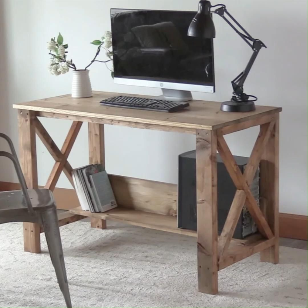 Build your own solid wood farmhouse desk for about $50!