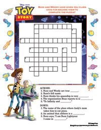 Toy Story Crossword Puzzle Other Disney Printables